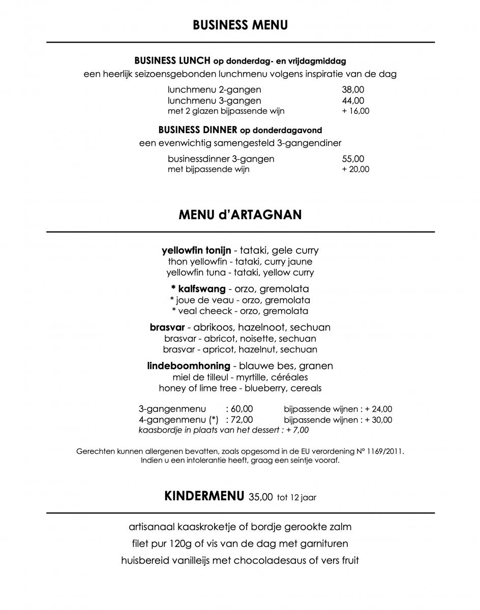 d'Artagnan - menu's